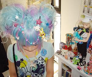 blue hair, kawaii, and decora image