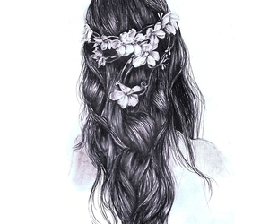 hair, flowers, and drawing image