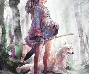 anime, wolf, and anime girl image