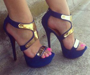 blue, gold, and high heels image