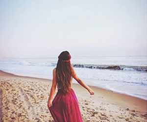 beach, girl, and bich image