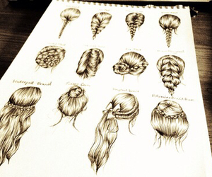 drawing, hairstyle, and braid image