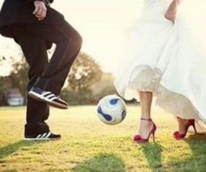 couple, heels, and soccer image