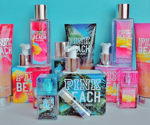 pink, beach, and perfume image