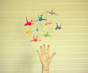 hand, origami, and bird image