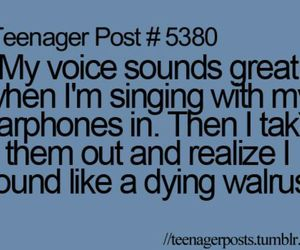teenager post, singing, and funny image