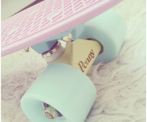 pink, skateboard, and girly image