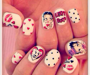 nails, betty boop, and red image