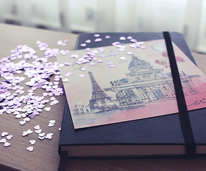 paris, book, and hearts image