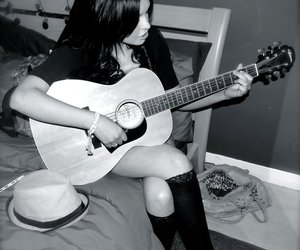 acoustic, black and white, and girl image