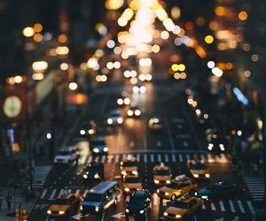 city, light, and car image
