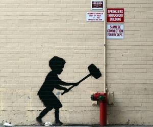 art, BANKSY, and little boy image