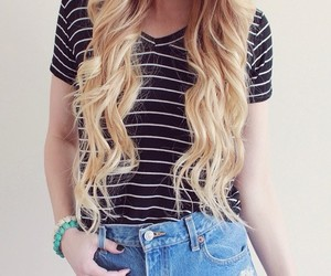 hair, outfit, and blonde image