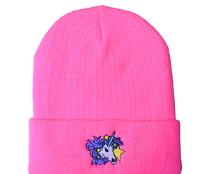 beanie, neon, and pink image