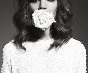 model, black and white, and flower image