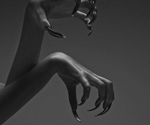 black, nails, and black and white image
