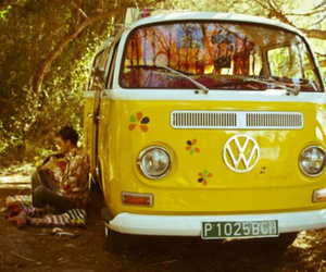 car, yellow, and hippie image
