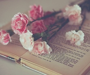 book, flowers, and rose image