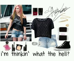 Avril Lavigne, look, and outfit image