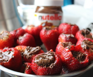 chocolate, strawberries, and food image
