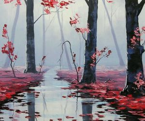 beautiful, red leaves, and water image