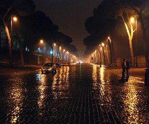 rain, night, and light image