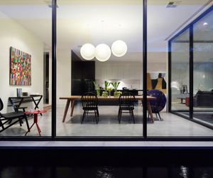 architecture., white wall paints, and stylish dining room image