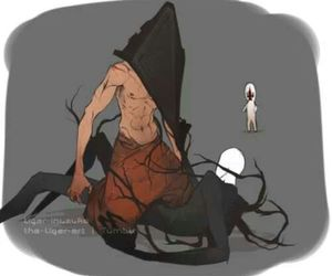fight, silent hill, and slenderman image