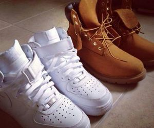 black, shoes, and timberlands image