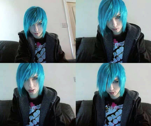 blue hair, frank wolf, and boy image