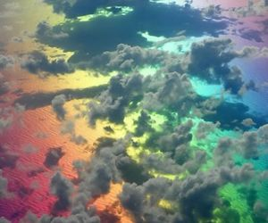 rainbow, clouds, and sky image