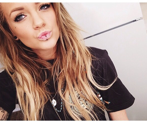 lips, piercing, and blonde image