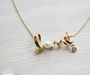 love, necklace, and pearls image