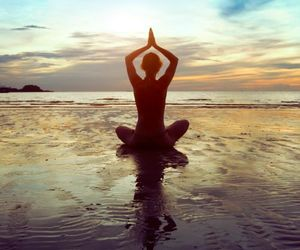 girl, meditation, and thin image