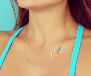 turquoise necklace, bridesmaid necklace, and layering necklace image