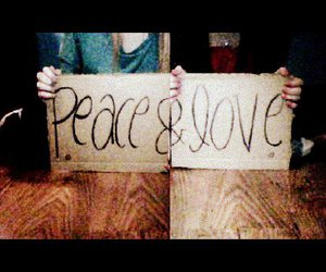 girls, peace, and signs image
