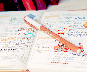 kawaii, notebook, and pen image