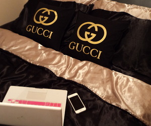 gucci, luxury, and bed image