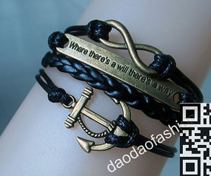 infinity bracelet, black leather bracelet, and bracelets anchor image