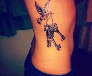 tattoo, bird, and key image