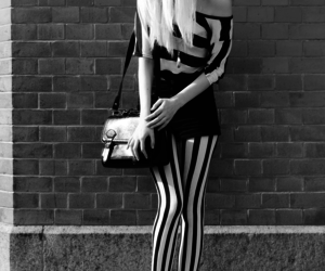 girl, black and white, and stripes image