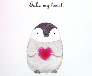 heart, penguin, and cute image
