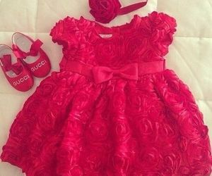 baby, dress, and red image