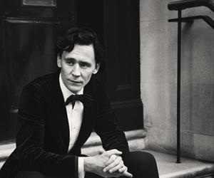 tom hiddleston, black and white, and loki image