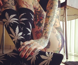 tattoo, weed, and socks image