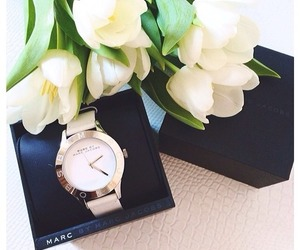 watch, flowers, and tulips image