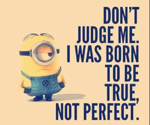 text, minion, and true image