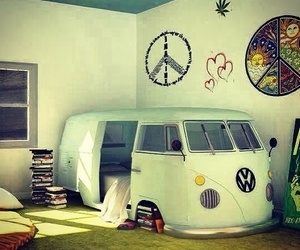 bedroom, hippie, and peace image