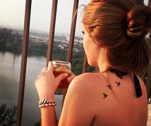 girl, tattoo, and bird image
