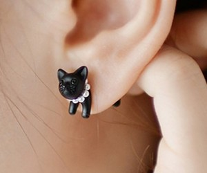 cat, earring, and fashion image